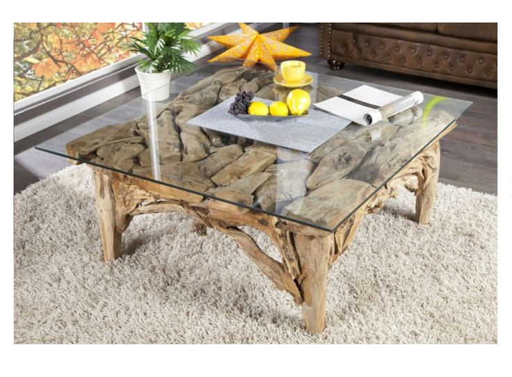 Couch Tisch Holz Baumstamm massiv Glas Wohneinrichtung