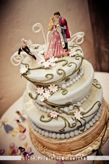 Love this fairytale cake with vines & flowers!  I probably wouldn't have a disney princess up there,  but everything else is perfect!
