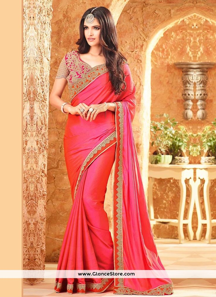 Floral Hot Pink Art Silk Traditional Saree