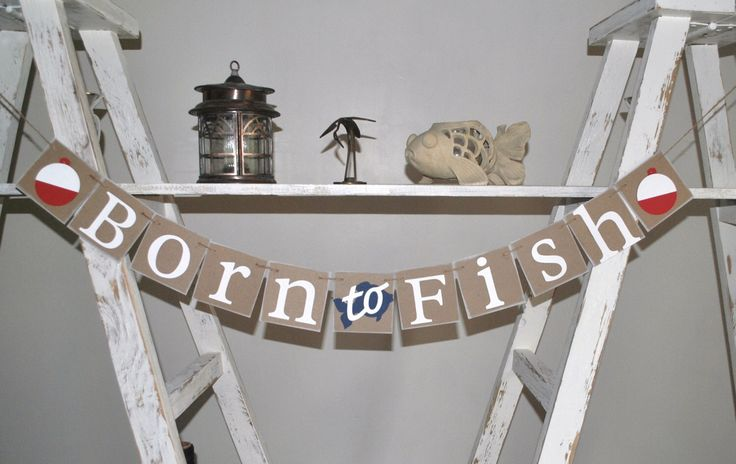 Born to Fish - Baby Shower Banner - Fishing Theme Baby Shower - Rustic - Baby Shower Decor by BayouBanners on Etsy https://www.etsy.com/listing/271218054/born-to-fish-baby-shower-banner-fishing