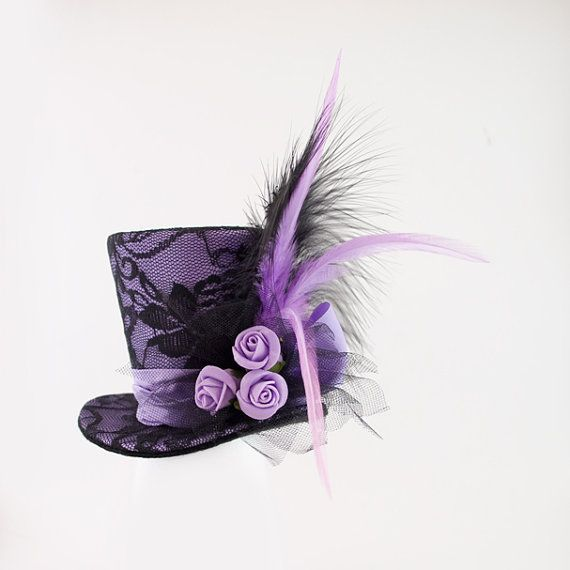 Purple Mini Top Hat,Mad Hatter hat, Wedding hat, Burlesque hat, Alice in Wonderland, Steampunk, Victorian,Bridal,Bachelorette party, Cosplay
