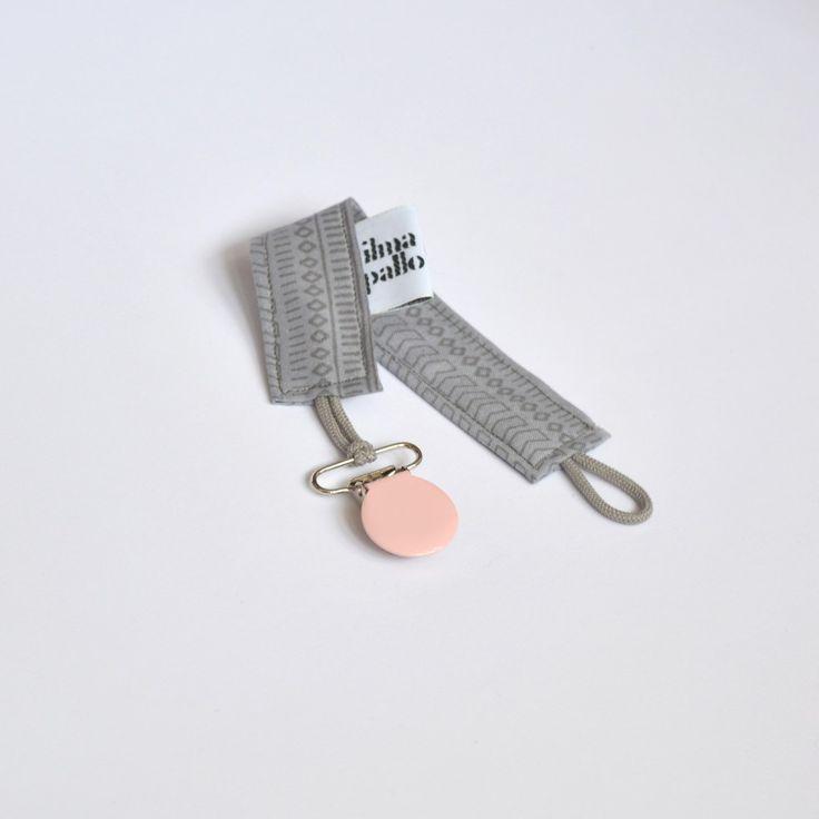 Schnullerband rosa und grau