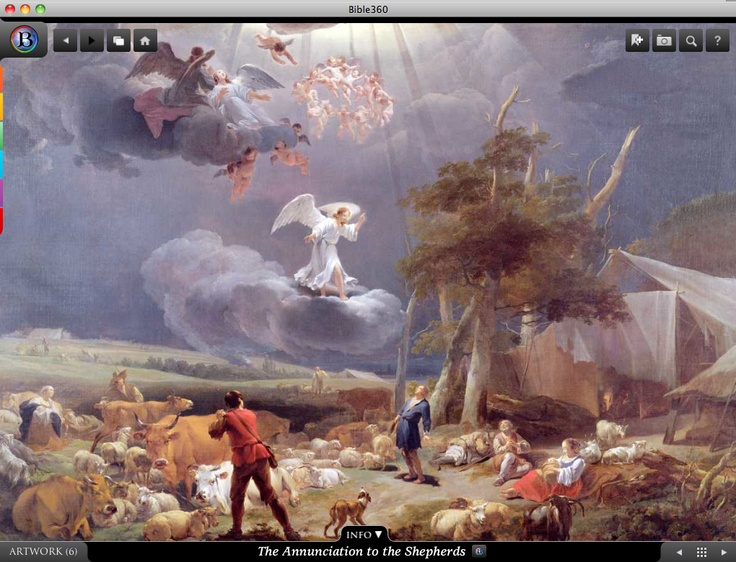 The Annunciation to the Shepherds. Bible360 is a free interactive socially-enabled app that brings the scripture to life through video, photos, maps, virtual tours, reading plans and more! Download it for FREE, www.bible360.com