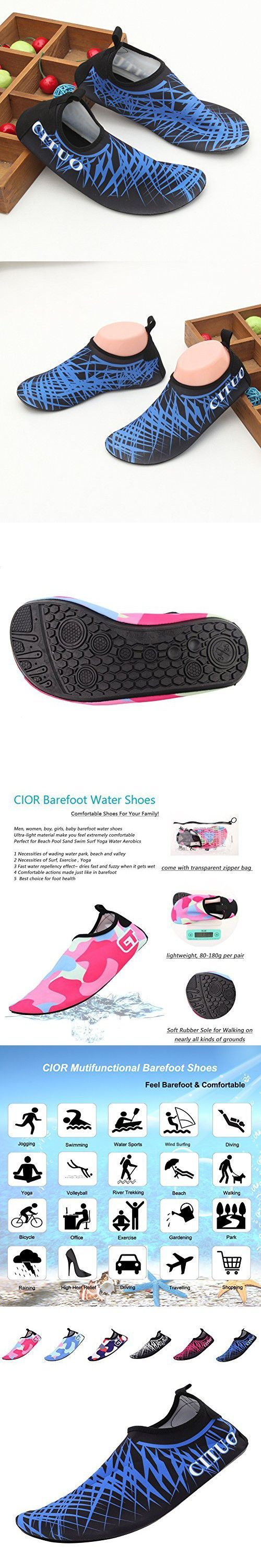 CIOR Mutifunctional Barefoot Shoes Men Women and Kids Quick-Dry Water Shoes Lightweight Aqua Socks For Beach Pool Surf Yoga Exercise ,CT1605,blue,46.47 #watershoes