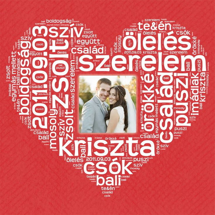 BETŰKÉP Szív alakban, a Ti fényképetekkel Valentin-napra, házassági-vagy kapcsolat évfordulóra,  / Personalized Photo Canvas with Heart Shaped words for Valentine's day or anniversity