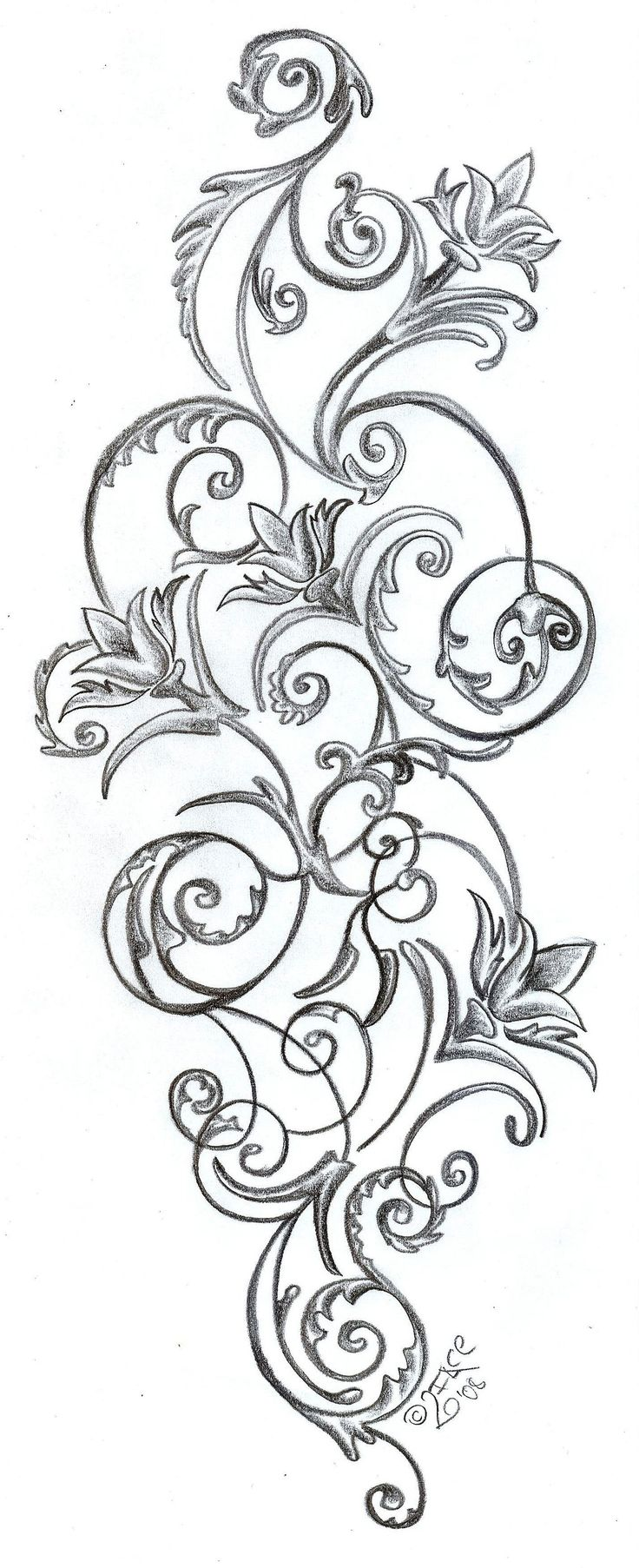 Flowers ornamentation Design by 2Face-Tattoo.deviantart.com on @deviantART