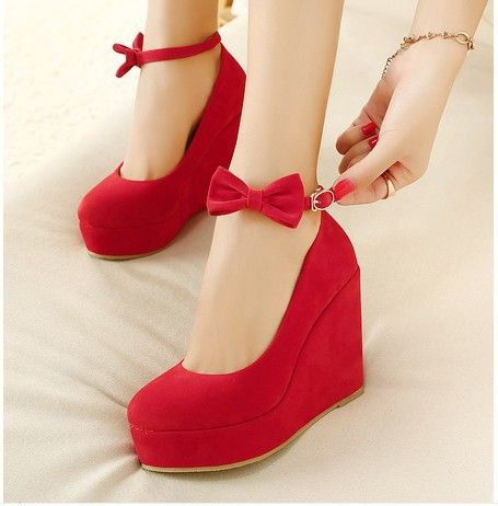 Wholesale Low Price 2014 New Sexy Lady Red Black Bow High Heels Womens Shoes Wedges Fashion Womens Vogue Pumps Free Shipping 0-in Pumps from...