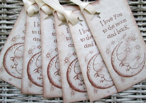 Tags I Love You To The Moon and Back Ivory by ShellCottageCard, $4.00
