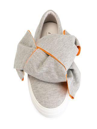 Bcolor Orange Bow Slip-On Sneakers