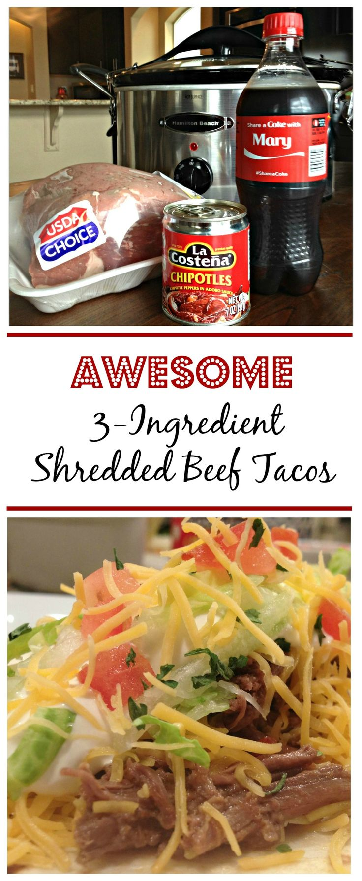 AWESOME 3-INGREDIENT CROCK POT SHREDDED BEEF TACOS!!! Tried & True recipe that's so darn good. I'm kicking myself for not trying this recipe sooner!  Taco night just got a lot better. |  SweetLittleBluebird.com