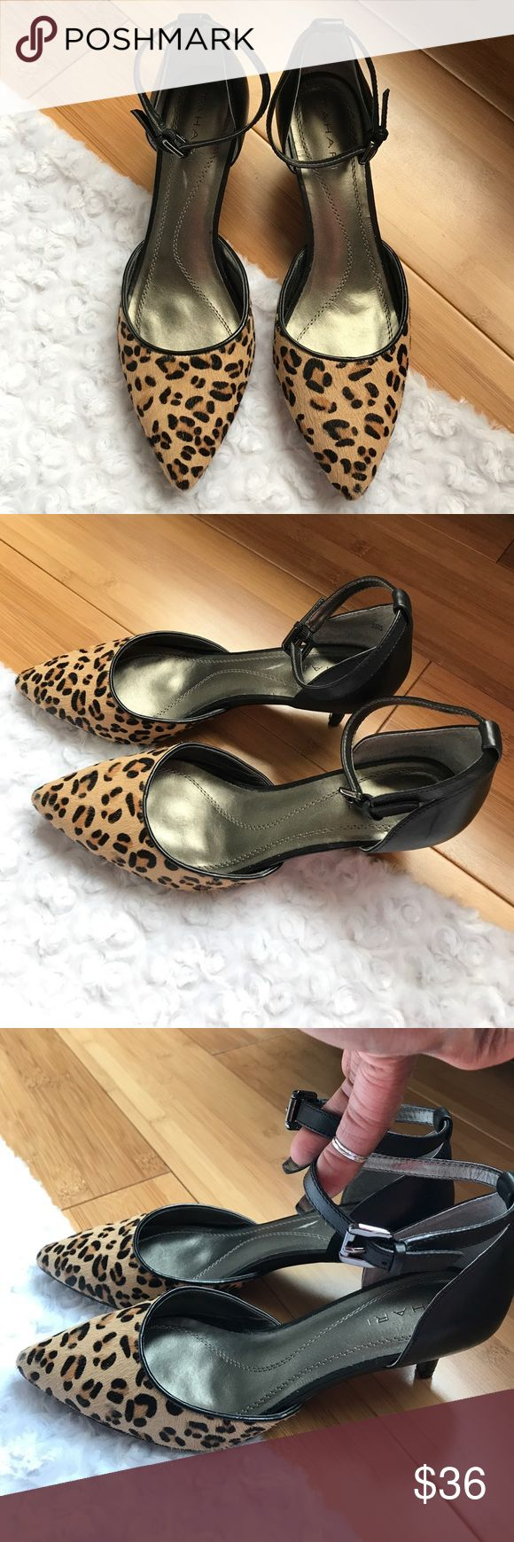 "•51• TAHARI LEATHER LEOPARD KITTEN HEELS Leather upper. Side buckle. (Gun metal) Almond toe. 2"" heel. These are a great staple for so many occasions. Have FuN!! Tahari Shoes"