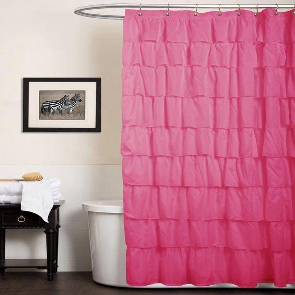 Lush Decor Ruffle Pink Shower Curtain