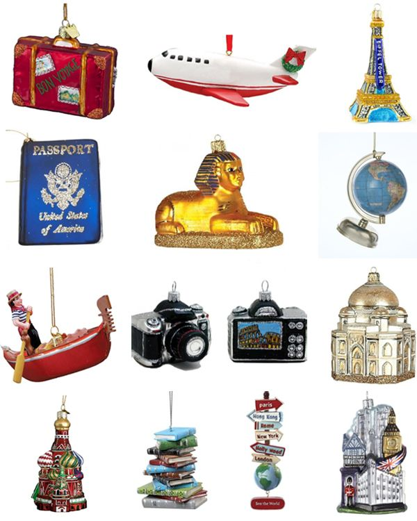 Travel-Themed Christmas Tree Ornaments, so cute!                                                                                                                                                                                 More