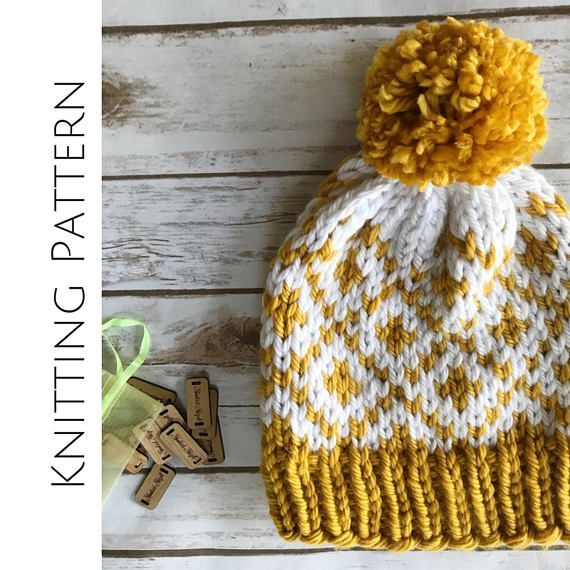 Knitting Pattern, Fair Isle Beanie, Chunky Knit Pattern, Knit Hat Tutorial, Women Hat Pattern, Stranded Knitting, Fitted Beanie, Two Color This listing is for a KNITTING PATTERN, not the physical beanie. The Fair Diamonds Beanie is perfect for fall! This beanie is simple to work up and would be a wonderful first time fair isle project. The double stranded nature of this pattern will produce a super warm and cozy hat - youll want to wear it all winter long! Using two contrasting colors of…
