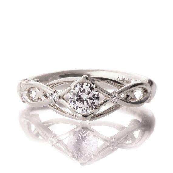 Celtic Engagement Ring 18K White Gold and by DoronMeravWeddings