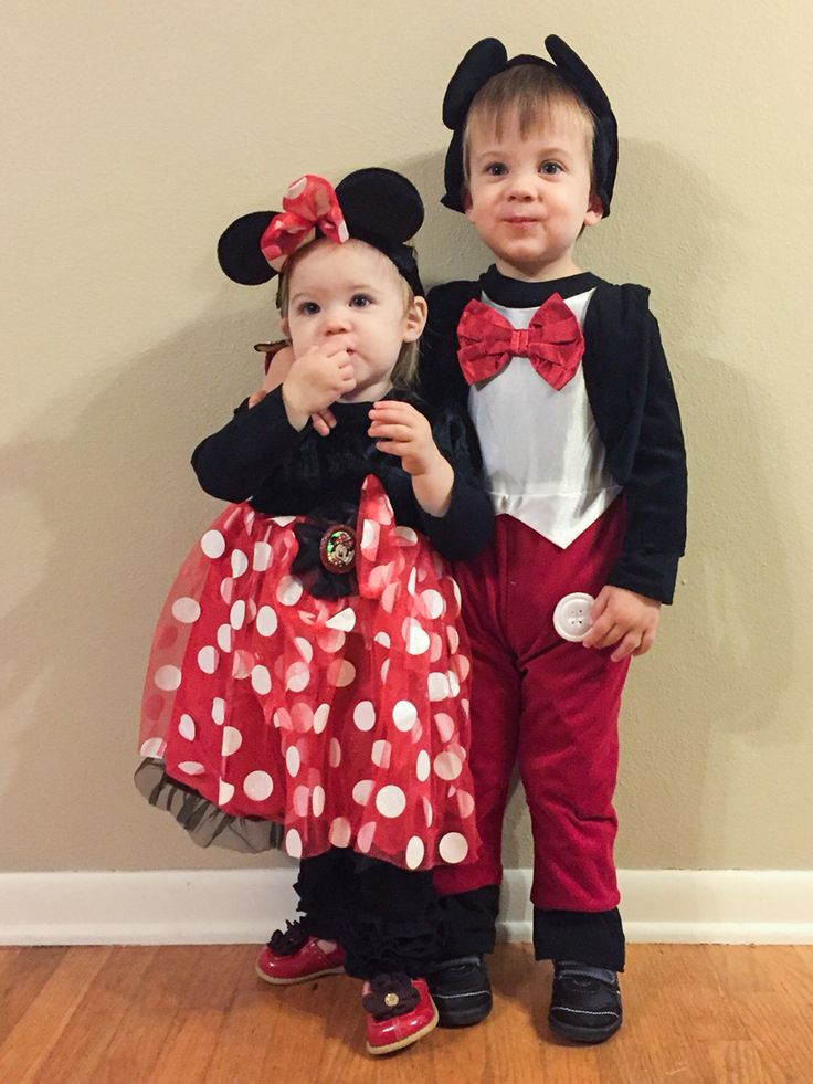 Mickey and Minnie Mouse Halloween sibling costumes brother sister outfits