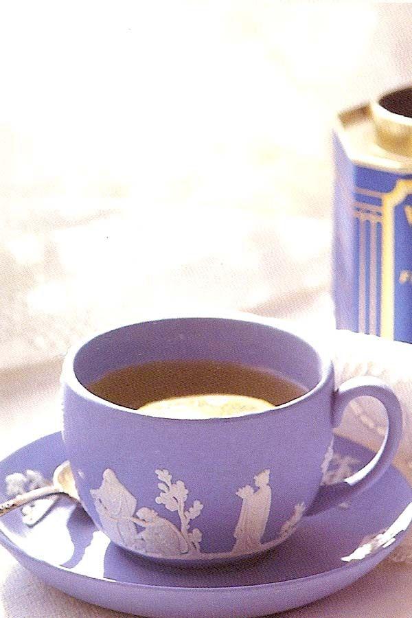 Tea in pretty purple cup! Oo my favorite color!