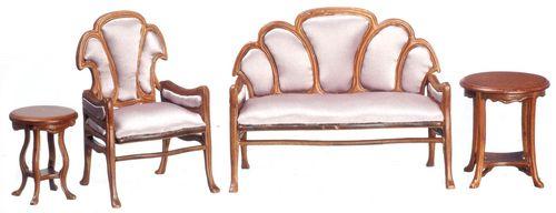 Guadie Art Noveau Furniture Set 4pc | Mary's Dollhouse Miniatures