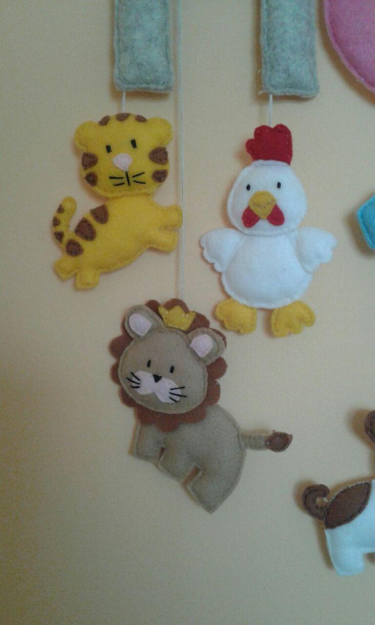 Tygrys, lew, kurczak filc