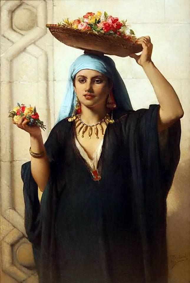 The Flower seller , Cairo 1870 Marchande de fleurs , Le Caire 1870 By Jean François Portaels - Belgian , 1818 - 1895  Oil on canvas...