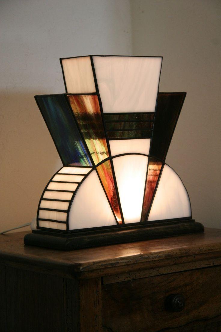 Lampe art d co vitrail tiffany mm luminaires par - Luminaire art deco plafonnier ...