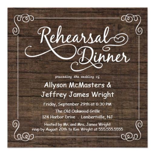 rustic wood rehearsal dinner invitations pinterest rehearsal