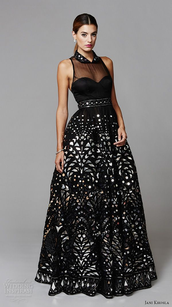 jani khosla 2015 bridal evening dress sleeveless halter neck black ball gown art deco shisha mirrorwork mirror funk