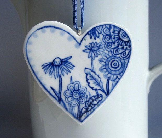 Porcelain Heart Blue Delft Wall by HarrietDamave on Etsy. $43.00, via Etsy.