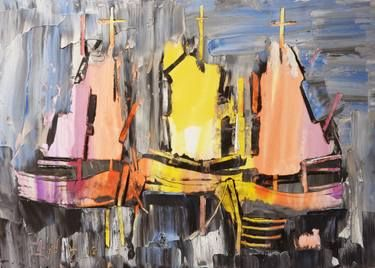Abstract sailboats