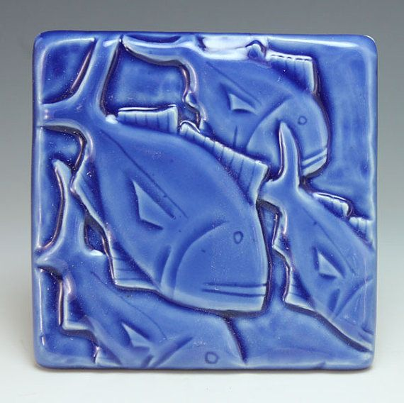 4x4 Jack Fish Handmade Art Tile Carved Bas Relief Blue by webbpottery