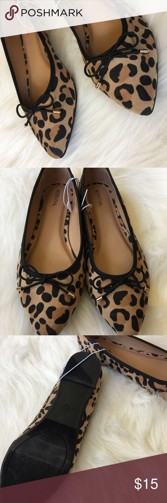 NWT 🐯Adorable Leopard Pointed Ballet Flats w/Bows Adorable pointed toe Ballet flat with bow detail. New with tags. Merona Shoes Flats & Loafers