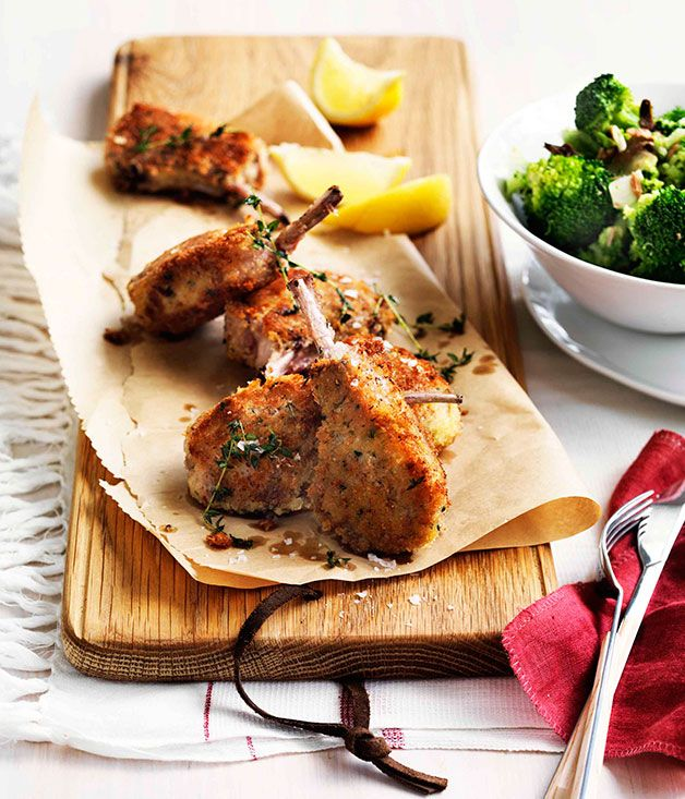 Parmesan-crumbed lamb cutlets with broccoli and anchovies - Gourmet Traveller