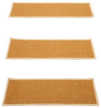 """Somerset"" Sisal Carpet Stair Treads, 100% Sisal, Sage Serged Cotton Border, 9"" - transitional - Stair Tread Rugs - Natural Area Rugs"