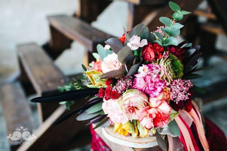 Букет невесты в цвете марсала