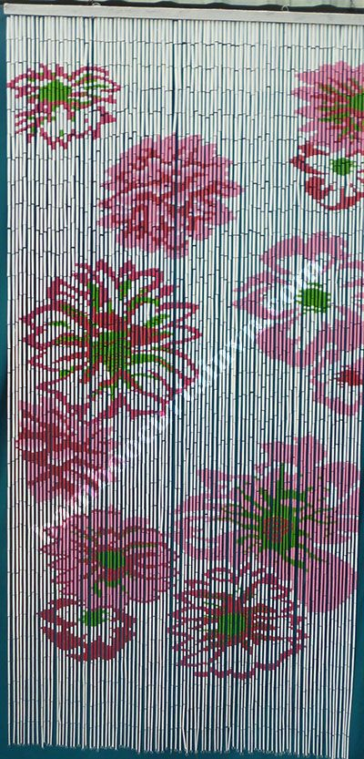 Unique bamboo beaded door curtain flower on white background