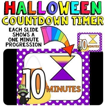 Classroom Timer: This is a fun countdown timer that has a candy corn / black cat theme for Halloween activities. It can really be used any time during the fall season though, especially October. Countdown timers can be helpful for activities such as: