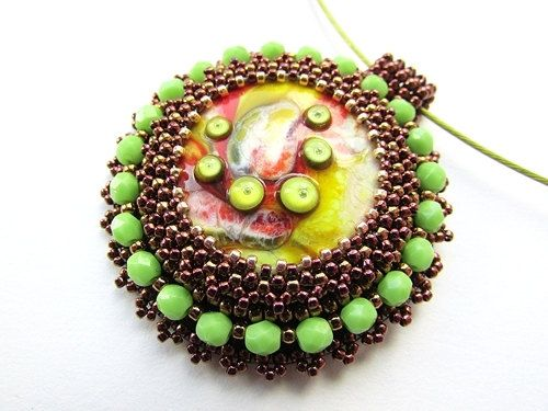 Iveta Linde lampwork cabochon, Bead Embroidered Autumn Color Pendant Embroidery by KristinesBeads