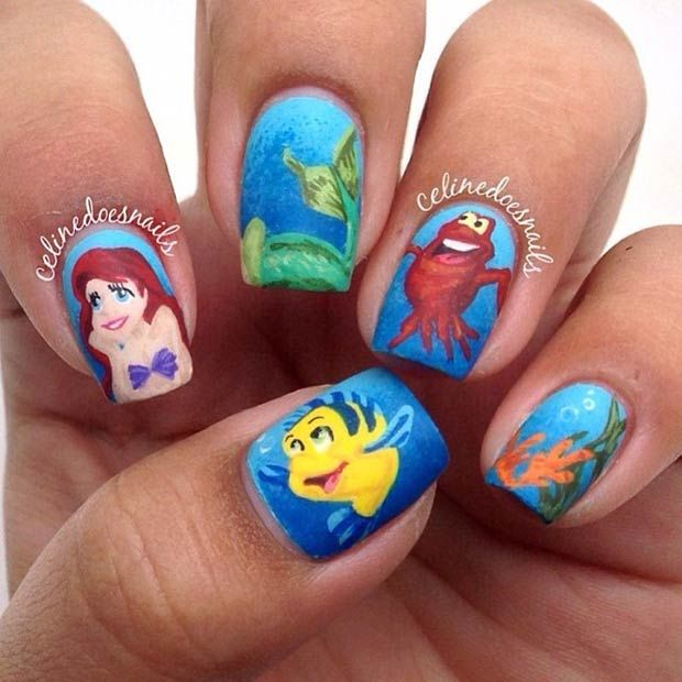 Disney Nail Art Design - Little Mermaid soo cute if I could have my nails like that all my life I would… Lol jk… Mabye