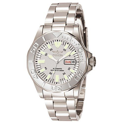 Invicta Men's 7048 Signature Collection Pro Diver Automatic Watch Invicta. $111.54. Scratch-resistant sapphire crystal; brushed and polished stainless steel case and bracelet. Automatic; day and date function. Water-resistant to 660 feet (200 M). Gray dial with white hour markers; luminous hands; screw down crown; exhibition case back. Quality Japanese-automatic movement; functions without a battery; powers automatically with the movement of your arm. Save 72%!