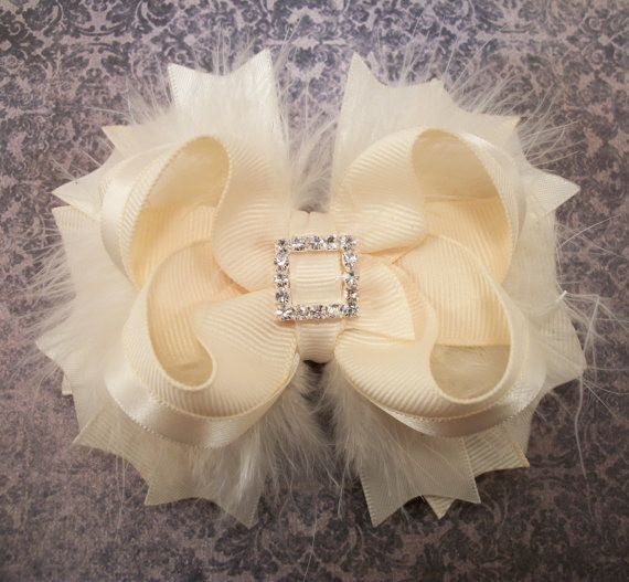 Ivory Bow Fluffy Stacked Boutique Bow with Rhinestone Center on Etsy, $7.99