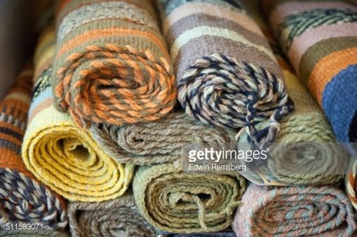 Stock Photo : Chile, Temuco, Weavings and textiles made entirely by hand by Mapuche women