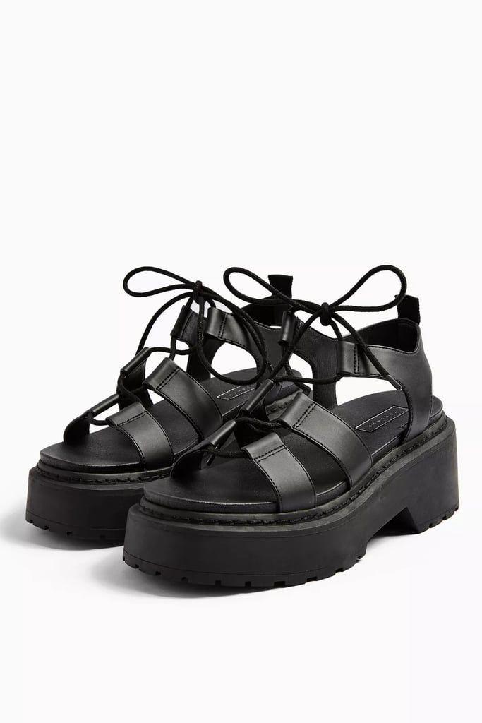 black sandal platform shoes