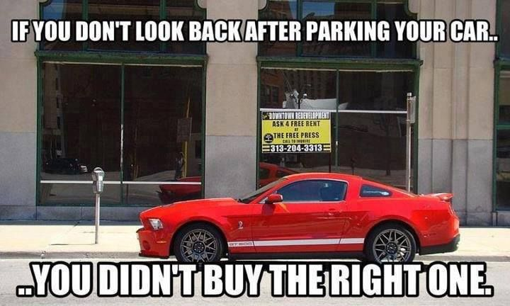 If you don't look back after parking your car... You didn't buy the right one.