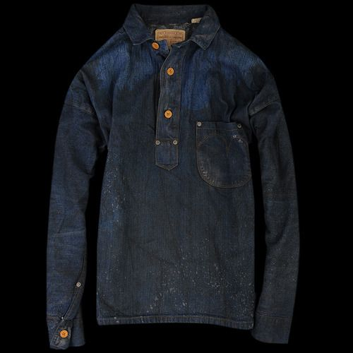LVC This is an exact reproduction of the first non- pant garment produced by Levi's' a heavy weight 9oz denim jumper that was originally made for hard working men of the American West during the early days of Levi Strauss Co.The garment has exposed copper rivets placed on top of the pockets and branded sewn on buttons. Made for miners who toiled deep below ground in candle-lit shafts, this simple but extremely durable shirt is made of only two 9oz 2x1 denim squares. Almost no fabric