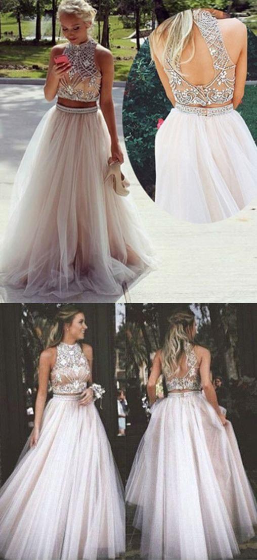 2017 prom dress, two piece prom dress, white beads prom dress, formal evening dress