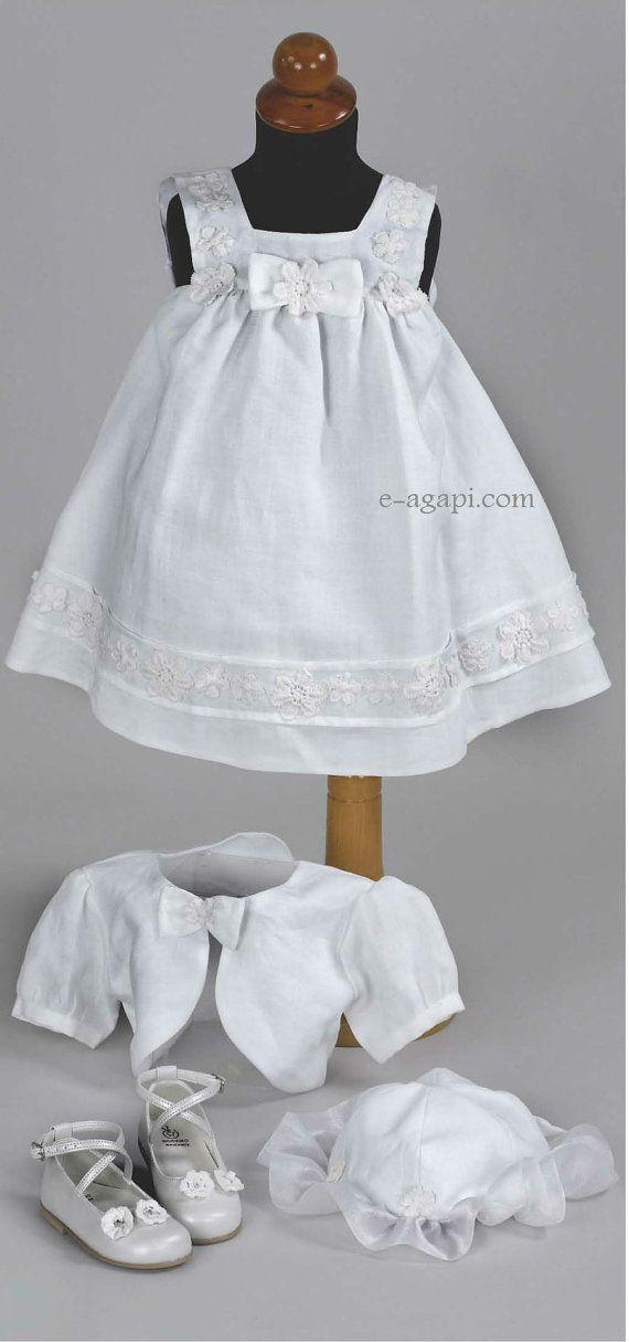 Baby girl greek baptism dress LINEN SET Christening  by eAGAPIcom