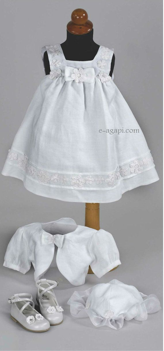 Baby girl greek baptism dress LINEN SET Christening by eAGAPIcom