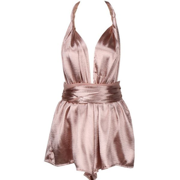 Lily Silk Wrap-Around Romper (£41) ❤ liked on Polyvore featuring jumpsuits, rompers, romper jumpsuit, pink romper, silk jumpsuits, wrap romper and playsuit romper