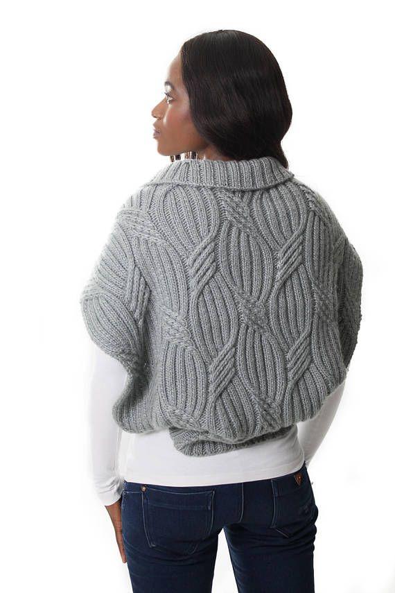 Thenjie Shrug Knitting Pattern  Chunky Cabled Bolero Knitting