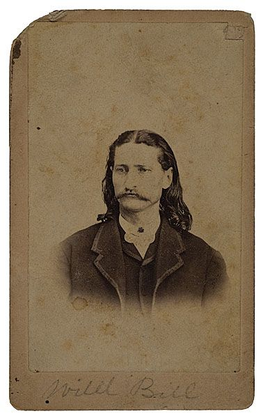 Extremely rare CDV of young Will Bill Hickok while in his Kansas days. Photographed by T. Smith, Topeka, Kansas c. 1871.
